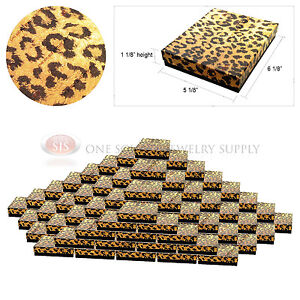 100 Leopard Print Gift Jewelry Cotton Filled Boxes 6 1 8 X 5 1 8 X 1 1 8