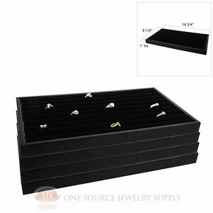 4 Ring Displays Continuous Rows Black Velvet Insert Plastic Stackable Trays