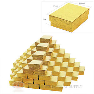 100 Gold Swirl Cotton Filled Gift Boxes 3 1 4 X 2 1 4