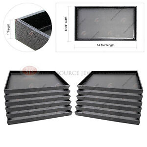 12 Black Wooden Display Sample Trays Covered Faux Leather Storage Organizer