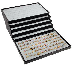 6 72 Slot Gray Ring Display Travel Tray Jewelry