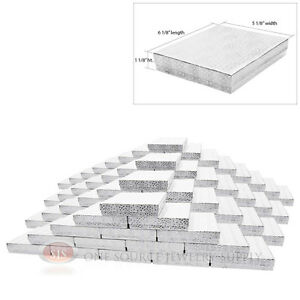 Large 100 Silver Foil Cotton Filled Jewelry Gift Boxes 6 1 8 X 5 1 8 X 1 1 8 h