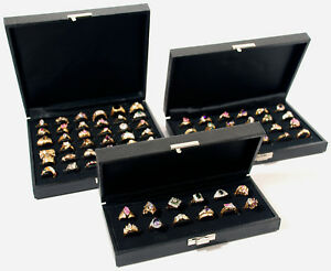 3 New Assorted Black Ring Display Cases