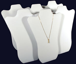 6 White Leather Pendant Necklace Jewelry Display 14
