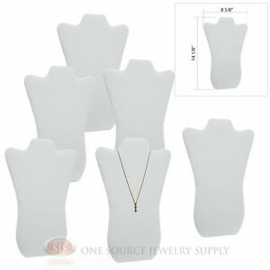 6 14 1 8 White Leather Padded Pendant Necklace Display Easel Presentation