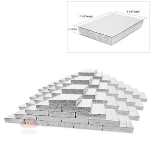 100 Silver Foil Cotton Filled Jewelry Gift Boxes 7 1 8 X 5 1 8 X 1 1 8 h