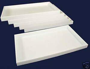 6pc White Plastic Stackable Storage Display Trays