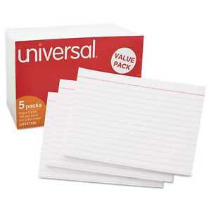 Universal Ruled Index Cards 4 X 6 White pack Of 4