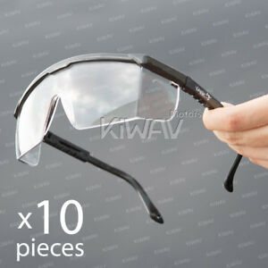 Safety Glasses Clear Lens Black Frame Anti fog Top Side Shield 10 Pairs