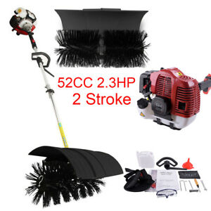 52cc Gas Power Walk Behind Sweeper Broom Outdoor Driveway Turf Lawn Cleaning Us