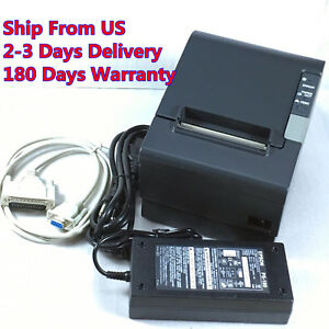 Epson Tm t88iv M129h Pos Thermal Receipt Printer Serial Port W Power Supply