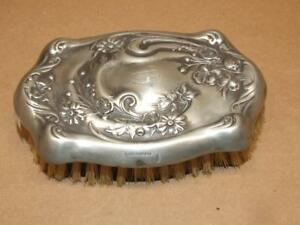 Vintage Hope Silver Co Silver Plated Floral Designed Baby Hair Brush 5 X 3 1 4