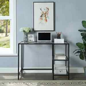 Florh Glass Top Desk With Shelves