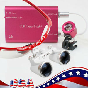 3 5x420mm Dental Loupes Loupe Magnifier Red Frame With Head Light Kit Set Red