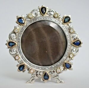 Vintage Sapphire Diamond 14k Gold Set Sterling Silver Picture Frame Italy