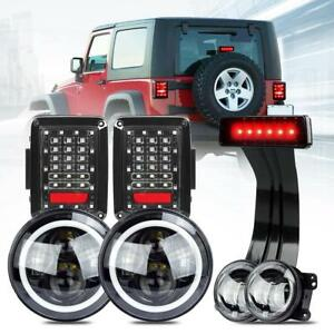 For Jeep Wrangler Jk 7 Halo Led Headlight Fog Tail Light Turn Signal Bra