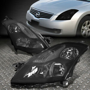 For 2007 2009 Nissan Altima Pair Smoked Housing Clear Corner Headlight Lamp Set