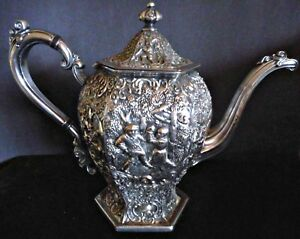 Barbour Silver Co Victorian Silver Plate Tea Coffee Pot Embossed Dutch Figures