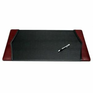 Dacasso Black and burgundy Leather Desk Pad With Felt Bottom