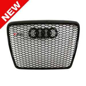2005 2011 Audi A6 s6 C6 Rs6 Style Front Mesh Grille Black Badgeless
