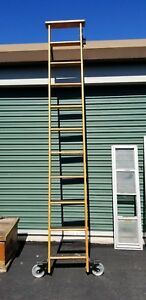 Solid Oak Rolling Library Ladder track Cotterman Mich 10 5 Salvage Antique