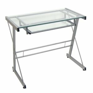Compact Metal And Glass Computer Desk Silver