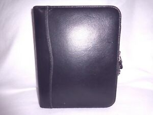 franklin Covey Leadership Center Usa Black Leather Classic Zippr Close Planner