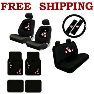 New 17pcs Set Pink Spring Flowers Car Front Rear Seat Covers Carpet Floor Mats