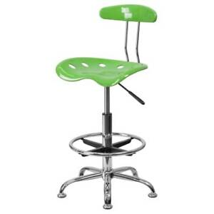 Delacora Ff lf 215 Lime 17 25 w Metal Swivel Seat Drafting Stool W Tractor Seat