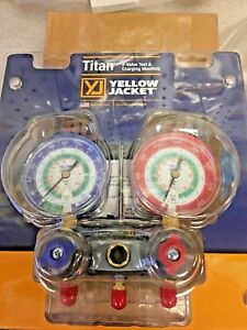 Yellow Jacket 2 Valve Manifold Titan R12 r22 R134a Red Blue Gauge 49843