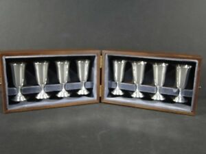 8 Tuttle 1960 S Lbj Solid Sterling Silver Cordials Liquors In Wood Box