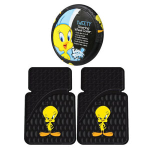 New 2pc Set Cartoon Tweety Bird Car Truck Front Rubber All Weather Floor Mats