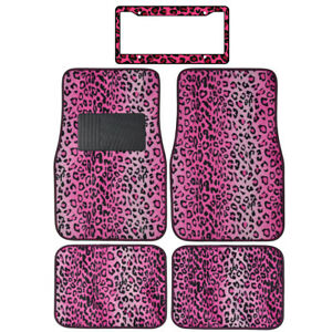 New Pink Leopard Print Car Truck Carpet Floor Mats License Plate Frame Set