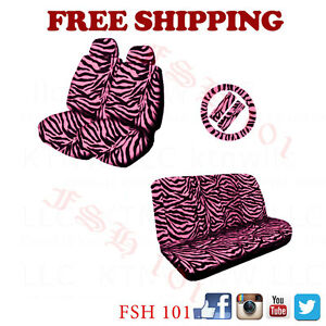 New Zebra Pink Safari Universal Fit Front Rear Seat Covers Wheel Cover Vehicle