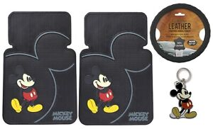 4pcs Disney Mickey Mouse Car Truck Front Floor Mats Steering Wheel Cover Set