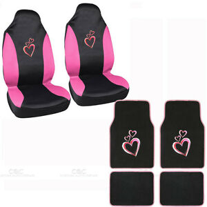 New Love Story Pink Hearts Car Front Seat Covers Carpet Floor Mats 6pc Set