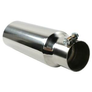 Stainless Steel Exhaust Tip Single Wall Tip 2 5 Inlet 3 0 Outlet 12 Long
