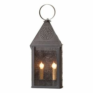 Colonial New Blackened Punched Tin Hospitality Accent Lantern Light