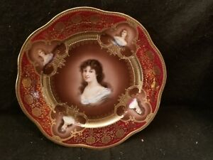 9 1 2 Royal Vienna Z S Co Bavaria Porcelain Portrait Plate