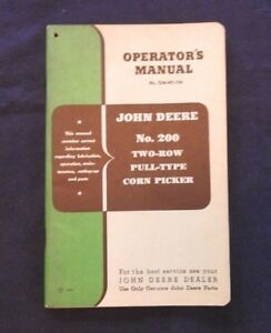 Original 1950 John Deere No 200 Two row Corn Picker Operators Manual Very Nice