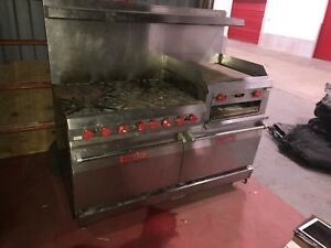 Vulcan 260l77r 6 Burner Flat Grill 2 Full Size Ovens Natural Gas Broiler