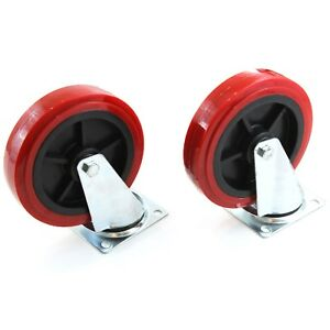 2 Caster Set Huge 8 Wheels All Swivel Red Non Skid Castor No Mark New