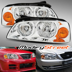 Chrome Diamond Crystal Headlights Assembly For 2004 2005 2006 Hyundai Elantra