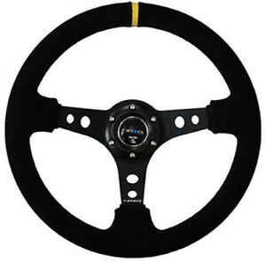 Nrg Steering Wheel 350mm 06 Black Suede Deep Dish black Stitches Yellow Stripe