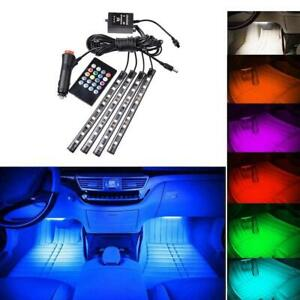 4x 9 Led Rgb 12v Car Interior Accessories Floor Decorative Atmosphere Lamp Light