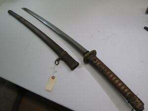 Japanese Samurai Katana Sword In Army Mounts Signed Yoshiyuki Osaka Shinto Long