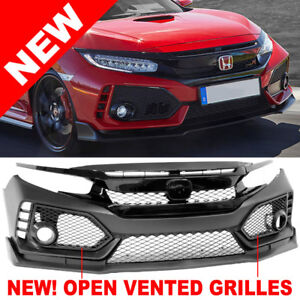 2016 2019 Honda Civic 10 Type R Front Bumper Grilles Brows Lip Conversion Swap