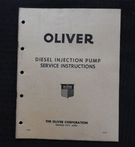 1951 Oliver 66 77 88 Tractor Diesel Injection Pump Service Repair Manual Nice 1