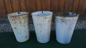 Vintage 3 Maple Syrup Old Tin Sap Buckets 13 High Old White Paint