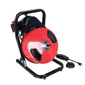 Theworks 50 Ft Compact Electric Drain Cleaner Machine Black red